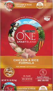 Purina One SmartBlend Chicken and Rice Formula dry dog food. Contains corn, wheat or their glutens.