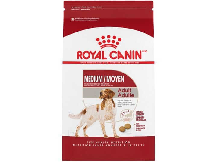 Royal Canin Medium Breed Adult. Contains corn, wheat or their glutens.