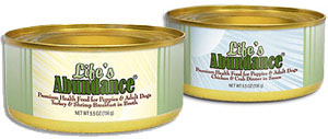 Life's Abundance holistic premium wet dog food in can, with meat and NO wheat.  Turkey and Shrimp.  Chicken and Crab.