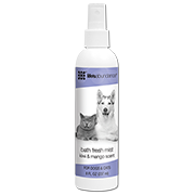 Bath Fresh Mist detangles hairs, leaves cat's coat silky and shiny, and absorbs odors. Contains certified organic herbal extracts, aromatic botanicals and natural fruit extracts.  Lovely kiwi-mango scent. Gentle enough for puppies and kittens over 12 weeks of age. From Life's Abundance in USA.