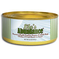 Life's Abundance Chicken and Crab Dinner canned dog food 5.5 oz.  Also available: (1) Turkey and Shrimp Breakfast Single 5.5 oz.  (2) Life's Abundance Dog Treat Sampler Pack with five of our most popular healthy snacks.
