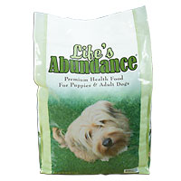Life's Abundance holistic premium dry dog food with real meat and NO wheat.