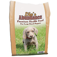 Life's Abundance Puppy Food. Sizes are 6.6 lb, 17.6 lb and 35.3 lb bag.