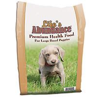 Life's Abundance Puppy Food. Sizes are 6.6 lb, 17.6 lb and 35.3 lb bag.