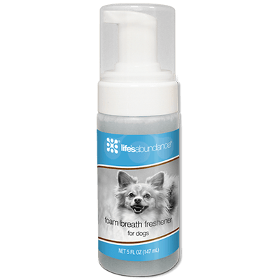 Dental Foam Breath Freshener for Dogs banishes doggie breath in less than a minute. From Life's Abundance in USA.