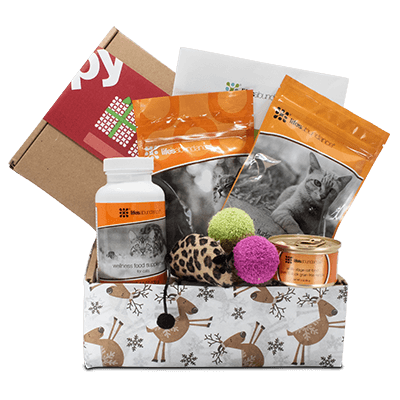 Holiday Gift Basket for Cats from Life's Abundance in USA, featuring health-promoting treats and supplements, super fun toys and irresistible catnip.  These baskets are a wonderful way to show the cats on your list just how much you care. Guaranteed to satisfy kitty cravings, all of these yuletide goodies are packed in a festive, keepsake tray. Includes Natural Cat Treats for Healthy Skin & Coat, a can of premium Instinctive Choice food, plus a bottle of Wellness Food Supplements.